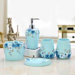 Wholesale 5PCS Bathroom Accessory Set Blue Resin Wash Cup ToothBrush Holder Soap Dish Kit