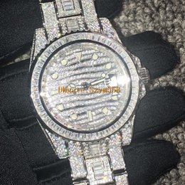 Gems diamond online shopping - Diamond Watch Best Quality Iced Out Watch ETA2836 Automatic Bling Bling Watch MM Men Waterproof Stainless Steel Strap Side of Diamond