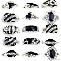 $enCountryForm.capitalKeyWord Australia - 20pcs Lot Fashion Size17-21mm Classic Silver Color Rhinestone Men Ring Black Enamel Male Finger Rings Jewelry