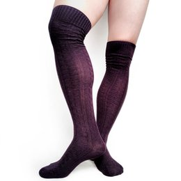 warmest thermal socks UK - Cotton Knit Warm Winter Long socks for Men Over the Knee Sexy Thick Male Formal Dress Stocking Hose Thermal Man Stocking Sox