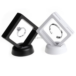 White Display Cases Australia - Black white Suspended Floating Display Case Jewellery Coins Gems Artefacts Stand Holder