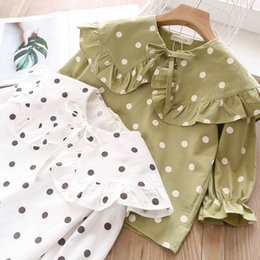 blouses necklines Australia - New Girls Child Print Dots Green White Color Holiday Blouse Clothes Spring Autumn Ruffles Neckline Sweet Kids Tops