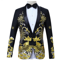 Wholesale shawl collar jackets men resale online - Mens Pattern Blazer Coats Chinese Style Floral Fish Embroidery Blazer Men Shawl Collar Male Stage Wear Prom Blazers Jackets