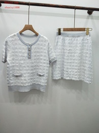 $enCountryForm.capitalKeyWord Australia - 2019 summer dresses Tracksuit women two piece outfits white knit short sleeve T-shirt casual fashion skirt maxi dresses women clothes YHC-2