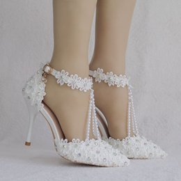 HigH Heels anklet online shopping - Downton Handmade Pearls and Lace Wedding Shoes heel Bridal Shoes bridesmaid Prom Party Shoes with Crystals Anklets size
