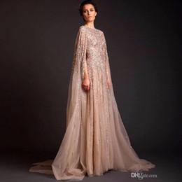 Celebrity kaftan dress online shopping - 2019 Sequin Dubai Abaya Formal Occasion Celebrity Dresses Arab Dubai Kaftan evening gown Saudi Arabia Muslim Champagne Evening Party Dresses