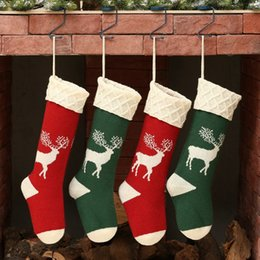$enCountryForm.capitalKeyWord Australia - Hot Sale High Quality Christmas Sock Large Christmas Decoration Stock Acrylic Elk Print Stocking Gift Bag Candy Bag Party Supplies BC VT0767