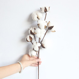 cotton plant flower NZ - Naturally Dried Cotton Flower Artificial Plants Floral Branch For Wedding Party Decor Fake Flowers Home Decoration