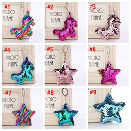 l key ring NZ - Sequin Unicorn Star Key Chain Christmas Keyring Cell Phone Bag Pendant Keychain Mermaid Key Ring Home Decor Party Favor 9styles 120pcs L