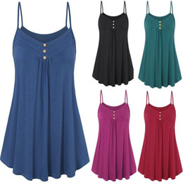 plus size gold tops women Canada - Plus Size 5XL Summer Tank Top Womens Tunic Button V Neck Tops Sleeveless Loose Casual Camis Ladies Clothes Women haut femme#H20