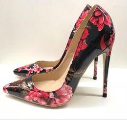 $enCountryForm.capitalKeyWord Australia - new style Flower printing Women's Red bottom High heel shoes 8cm 12cm 10cm large size 44 Cusp Fine heel Single shoes Nightclub dress wedding