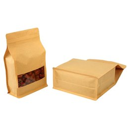 bags foods Australia - 50 Pcs Big Capability Stand-up Kraft Paper Food Packaging Bag with Frosted Window, Pouch for Food Nuts Cookie Candy