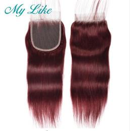Bleached Burgundy Hair Australia - Brazilian Straight Hair Closure 99j Red Burgundy Non-remy Human Hair Top Lace Closure with Baby Hair 4x4 Bleached Knots