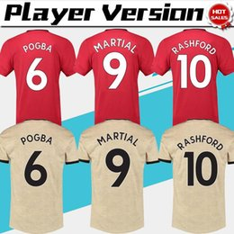 reds player 2019 - Player Version 2020 #6 POGBA United home red Soccer Jerseys 19 20 Men away soccer Shirts #8 MATA #9 MARTIAL football Uni