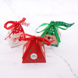 Christmas Gift Bag Paper Australia - 7.5x7.5x9.5cm 10 PCS Set Merry Christmas Candy Box Bag Christmas Tree paper Santa Claus gift box pyramid party chocolate box C18112701