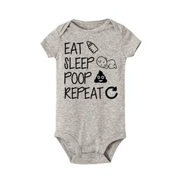 baby sleep vest UK - Eat Sleep Poop Repeat Baby Bodysuit Newborn Infant Girls Boy Short Sleeve Funny Cotton Bodysuits Jumpsuit Outfit Baby Clothes