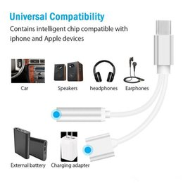 iphone aux connector Australia - 2 in 1 Charger And Audio Type-c Earphone Headphone iphone Jack Adapter Connector Cable 3.5mm Aux Headphone For smartphone 7 8p XS max