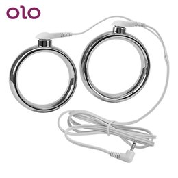 $enCountryForm.capitalKeyWord Australia - Olo Electric Shock Penis Rings Stainless Steel Male Chastity Delay Ejaculation Cock Rings Sex Toys For Men Adult Games SH190801