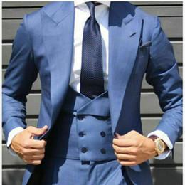 Harris tweed vest online shopping - Autumn High Quality Light Blue Double Breasted Men Suit Wedding Tuxedos Slim Fit Groom Peaked Lapel Custom Blazer Suit Jacket Vest Pants