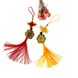 Chinese Lucky Knots NZ - Red Chinese Knot Feng Shui Wealth Success Copper Ancien Coins Lucky Charm Home Car Decoration
