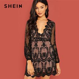 20ad62fd31 SHEIN Black Party Embroidered Mesh Plunging Neck Bishop Sleeve High Waist  Dress 2018 Autumn Sexy Women Dresses Q190423