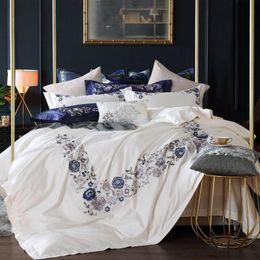 $enCountryForm.capitalKeyWord Australia - 1000TC Egyptian Cotton White Blue Bedding Set Queen King size Bed sheet Chinese Embroidery duvet cover linge de lit ropa de cama