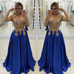$enCountryForm.capitalKeyWord NZ - 2019 Long Sleeves Evening Dresses Gold Appliques Beaded Royal Blue Long Evening Prom Gowns Formal Mother of The Bride Groom BC0144