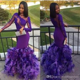unique girls party dresses NZ - 2019 Newest Black Girls Purple Prom Dresses Mermaid Sexy Back Design With Ruffles Unique Evening Dresses Lace Appliques Party Dresses