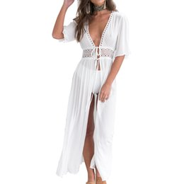 black white belt bikini Australia - Newly Long Shawl Lace Cardigan Bikini Cover Up Women Boho Beach Wears for Summer Holiday Vocation DOD886