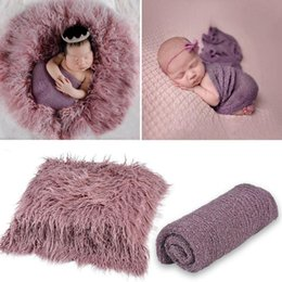 cotton blanket wholesale UK - Newborn Baby Photo Props Backdrop Photography Soft Fur Mat Blanket Newborn Body Cotton Wrap for Infant Photography