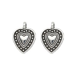 tibetan coins UK - Fashion Charms 10pcs Tibetan Silver Plated Heart Charms Pendants for Jewelry Making Bracelet Jewelry Accessories Jewery Findings 19x14mm