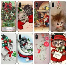 kitty silicone case NZ - [TongTrade] Vintage Kitty Christmas Case For iPhone 11 Pro Max X XS 8s 7s 6s 5s 4s Galaxy J7 Huawei Y5II Y6II Sony Z3 Compact Wholesale Case
