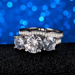 $enCountryForm.capitalKeyWord Australia - 2019 100% Off YINHED Engagement Ring Set Two Band Three-Stone Ring s925 Sterling Silver Ring Zircon CZ Wedding Rings for Women ZR232