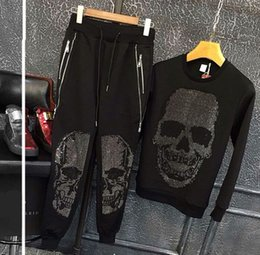China Autumn and Winter fashion Men's Slim Sanitary Clothes Skull Casual Suit Two-piece Men's trackSuit supplier skull tracksuits suppliers