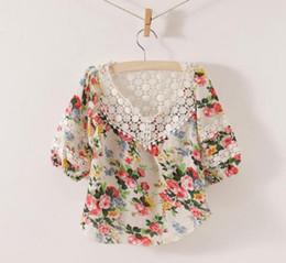 Girl Plaid Shirts Australia - Girls Cute Lace Embroidered Collar Shirts Children Clothing Kids Cute Casual Tops Fashion Princess Flower Shirt Child Long Sleeve T Shirts