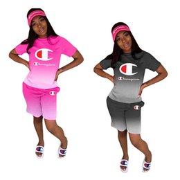 $enCountryForm.capitalKeyWord Australia - Gradient Women Champion Letter Print Tracksuit Short Sleeve T-shirt Tops + Shorts Pants 2 Pcs Set Summer Outfits Sportswear Plus Size A41607