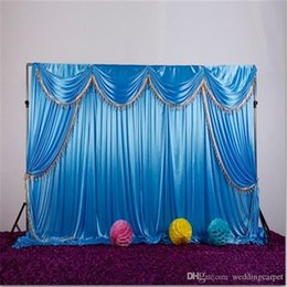 $enCountryForm.capitalKeyWord NZ - Ice silk fabric wedding backdrop with swags and tassel drape curtain for wedding stage event party birthday decoration