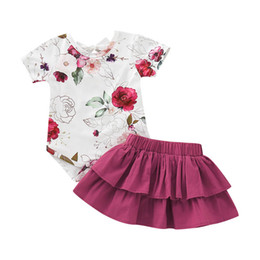 Chinese  Ins baby girl clothes Girls Outfits Baby Suit 2019 new Summer floral Romper+Tiered Skirts Infant Outfits Newborn sets baby Dress Suits A4669 manufacturers