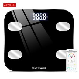 smart chocolate UK - AIWILL Electronic Smart Weighing Scales Bathroom Body Fat bmi Scale Digital Human Weight Mi Scales Floor lcd display Health Gift Y200106