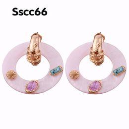 Copper Earrings Hooks UK - Brandjewelryyy Solid Color Natural Shell Color Stone Zinc Alloy Accessories Copper Ear Hook Pendant Long Fashion Earrings