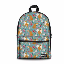 Zoo Backpack Kids UK - Customized Cute Shiba Inu Printing Backpack Female Zoo Backpacks for Girls Kids Kawaii Bookbag Teenagers School Bagpack Satchel