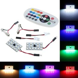 License Plate Control Australia - 2X T10 15SMD Car RGB Festoon Dome Reading Light Atmosphere Lamp Remote Control Wholesale For BMW Benz DHL UPS Free Shippping