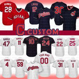 68788d84ccb 12 Francisco Lindor Cleveland Custom Indians Baseball Jersey 11 Jose  Ramirez 47 Trevor Bauer 30 Joe Carter Kipnis Thome Kluber Zimmer Miller