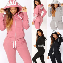 Wholesale woman cardigans resale online - Cardigan Hooded Women Tracksuits Piece Sets Long Sleeve Stripe Womens Hoodies Tops Sweatpant Casual Plus Size Womens Sports pc Clothing
