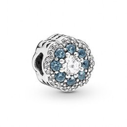 Authentic Flowers Australia - New Authentic 100% 925 Sterling Silver Blue Crystal Pave Shine Flower Charm Beads Fits Original Brand Bracelets DIY Jewelry Making