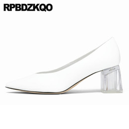 sexy glasses 2019 - chunky perspex size 4 34 pointed toe sexy white high heels thick shoes transparent runway glass clear pumps ladies pink