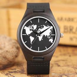 $enCountryForm.capitalKeyWord Australia - Top Gifts Luxury World Map Wooden Watch Genuine Leather Band Dark Bamboo Wood Quartz Watches Men's Fashion relogio masculino Male Wrist