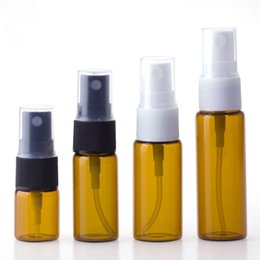 cap pressing Australia - Mini amber glass hair spray bottle 5ml 10ml 15ml 20ml continuous mist spray bottle with plastic press cap for cosmetic toner cheap sale