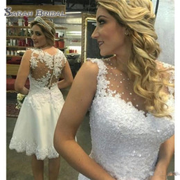 Hot sexy brides online shopping - 2019 Cheap Illusion Bodice Short Wedding Dresses Beaded Crystal A Line Bride Gowns Sleeveless Custom Plus Size Hot Sale