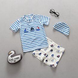 Wholesale Children s Swimwear Blue Striped Navy Boy Swimsuit Baby Boys Sunscreen Beach Wear with Hat Kids Bathing Suit Top Quality